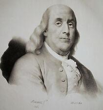 BENJAMIN FRANKLIN Portrait Lithographie 1826 - Original!