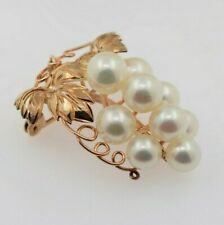 14K Yellow Grape Vine Brooch and Pendant with Genuine Pearls