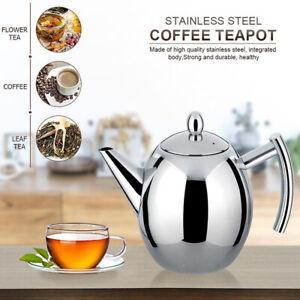1500 ML Teekanne Edelstahl Teebereiter mit Siebeinsatz Teekrug Edelstahlkanne