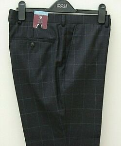 Mens Marks and Spencer Luxury Wool Blend Trousers Waist 34 Leg 29 Navy Tags