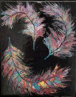 "Painting Acrylic Abstract Original Fluid Art on Canvas 11"" X 14"" Home Decor Wall"