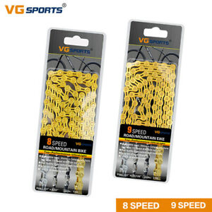 VG Bicycle Chain 8/9 Speed Mountain Road Bike Chains fit Shimano IG51 Gold 116L