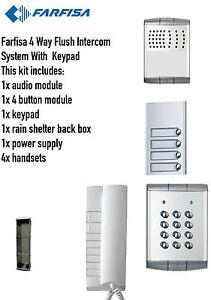 Farfisa 4 Way Flush Intercom Audio/System Kit 1xIntercom 4xHandsets 1x Keypad