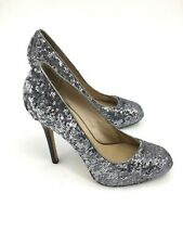 "Dolce Vita Size 9 Shoes Silver Sequin 4"" High Heel Shoe Round Toe"