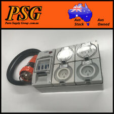 Portable Power board 32 Amp 3 phase 5 pin supply to 240v RCBO outlet 2x15A 2x20A