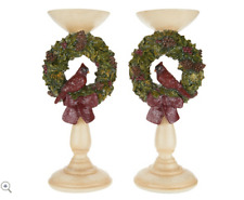 """12.5"""" Cardinal Wreath Pedestal Candle Holders Set Of 2 by Valerie H212431"""