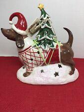 NEW! Blue Sky Claywork Christmas Tree Brn Dachshund Dog Tealight Candle Holder