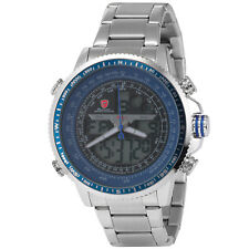 Shark Fashion Men's Blue LCD Digital Stainless Steel Analog Quartz Sport Watch