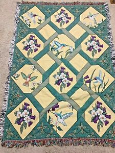 Vintage Fringe Tapestry Throw Blanket Southern Dogwood Flowers Hummingbirds