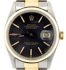 Rolex Datejust 2Tone Gold/Stainless Steel Oyster Black Tapestry Watch 16013