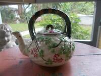 antique old vintage JAPAN TEAPOT hand painted basket weave florals 4 cups/32 oz