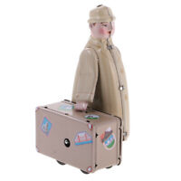 Wind Up Tin Toy Walking Traveller with Suitcase Clockwork Collectible Gift