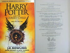 Harry Potter & the Cursed Child Pts 1 & 2 Sp Rehearsal First 1st Edn J K Rowling