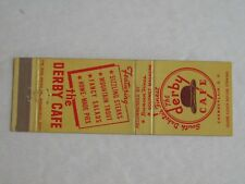P424 Matchbook Cover SD South Dakota The Derby Cafe Chamberlain