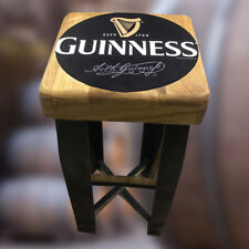 Solid Oak Guinness Branded Recycled Whisky Barrel Wooden Bar Stool Vintage