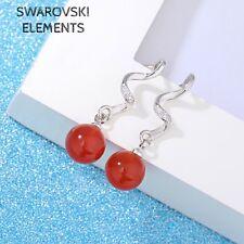 Boucles d'oreilles Swarovski® Elements tige spirale perles ROUGE  plaqué argent