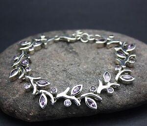925 STERLING SILVER GENUINE AMETHYST Bracelet FREE SHIPPING! FREE GIFT WRAP!