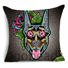 "SUGAR SKULL CUSHION COVER 17"" Day of the Dead DOG Brown Black  DOBERMAN PINSCHER"