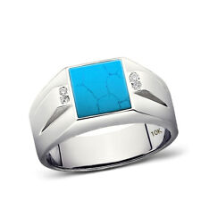 New Mens Solid 10K White Gold Turquoise Ring 0.08ct Natural Diamond Ring for Man