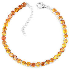 Sterling Silver 925 Genuine Natural Golden Yellow Citrine Bracelet 61/2 - 8 Inch