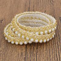 1m Perlenbesetzt Spitzenband Dame Kleidung Tasche Deko DIY Nähen Basteln Gold