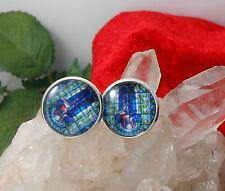 Zilar Herren Manschettenknöpfe Cabochon Glas 16 mm Muster Blau Türkis