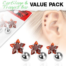 3 Pc Red Star CZ Ear Cartilage Daith Tragus Helix Earrings Barbell Studs