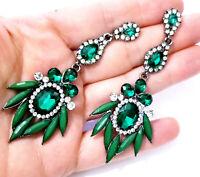 Green Rhinestone Chandelier Earrings Bridal Prom 3.4 inch