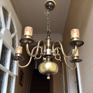 Vintage Bronzed Antique Brass Finish Five Arm Lamp Ceiling Light Fitting