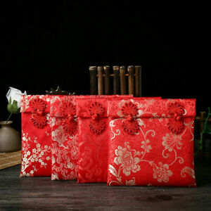 DI- AU_ New Year Dragon Phoenix Chinese Knots Brocade Red Envelope Money Packet