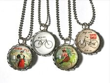 Silver-Plate Glass Cabochon Pendant Necklace (1) Bicycle Bike Rider Artisan