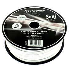 Lautsprecherkabel FLACH 2x1,5mm² - weiss - 100m Spule - CCA - Audiokabel - Boxen