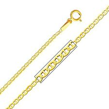 14K Yellow Gold Mariner Chain 1.3mm Wide 20 inch Flat Link - Spring Ring Clasp