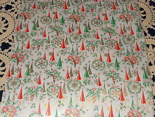 VTG CHRISTMAS 1950 DEPT STORE WRAPPING PAPER 2 YARDS GIFT WRAP ATOMIC AGE TREES