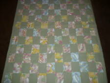 COUNTRY COTTAGE SAGE GREEN PATCHWORK OF FLOWERS THROW QUILT - BRAND NEW