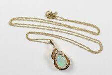 "Galaxy Opal Gemstone Diamond Accent 14k Gold Pendant / Necklace 17.5"" Chain"