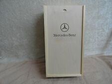 MERCEDES BENZ TWO BOTTLE WOOD WINE BOX WITH SLIDE LID GREAT CONDITION