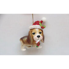Beagle with Santa Hat Glass Ornament