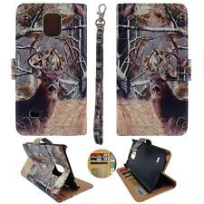 For Samsung Galaxy Note 4 N9100 Am Wallet Camo Tail Deer Pine Split Leather Case