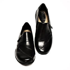 Earth Anise Womens 7M Loafer Shoes Black Leather Soft Step Comfort Flats NEW