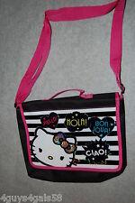 HELLO KITTY SHOULDER BAG Girls Purse BLACK WHITE PINK Adjustable Shoulder Strap