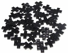 LEGO LOT OF 50 NEW BLACK PLATES 3 X 3 CROSS PIECES BUILDING BLOCKS