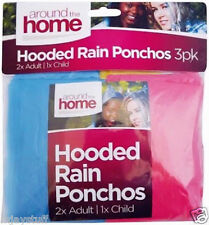 Around the Home 3 x HOODED RAIN COVER PROTECTOR PLASTIC PONCHOS 2 ADULTS 1 CHILD