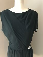 Vintage 1950's Black Chiffon Cocktail Dress R & K Originals