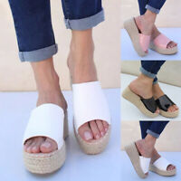 Women Sandals Slippers Summer Shoes Slip-On Weaving Beach Wedges Platform Slides