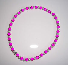 6mm Pink and Silver Miracle Bead Anklet  Handmade - Large Size