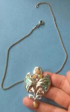 Art Nouveau Style Solid Silver Split Chain Opal & Abalone Drop Pendant Necklace