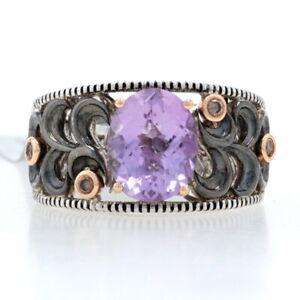 Le Vian Amethyst & Diamond Ring Sterling & Rose Gold 925 & 18k 2.49ctw Size 7