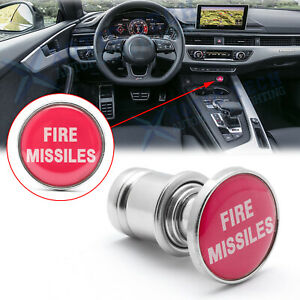 """Sports Red """"FIRE MISSILES"""" Push Button Design Car Cigarette Lighter Plug Cover"""