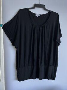 Dream Diva Shirt  Plus Size XL 22/24 Women's Black Rayon Spandex  Blouse Stretch
